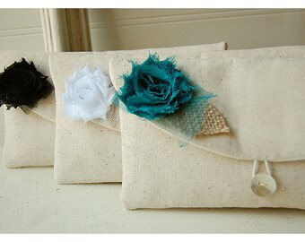 teal clutch purse Bridesmaids Gift Rustic wedding burlap lace wedding gift clutch Bridesmaid Clutch Purse shabby chic clutch Set 5 cosmetic