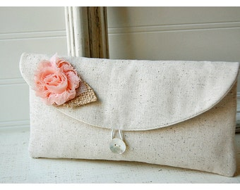 peach blush clutch purse burlap wedding rustic wedding clutch bridal clutch shabby chic purse Personalize purse Bridesmaid gift cosmetic bag