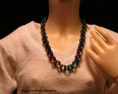 Ball Jointed Doll Dark Gray Double Chain with Rainbow Long Necklace