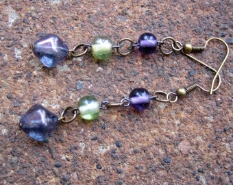 Eco-Friendly Dangle Earrings - Panacea - Trio of Recycled Delicate Vintage Glass Beads in Violet, Green and Blue