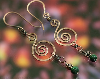 Spiral Hammered Copper Spiral Earrings with Rose and Malachite Bead Dangle