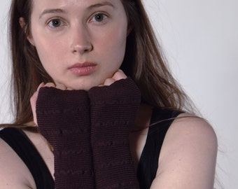 Brown Arm Warmers Bracelets pure merino fingerless gloves mittens wrist warmers