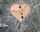 Stained Glass Heart Suncatcher - Blush Pink - Vintage silver Hearts - Romantic Lace