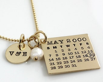 Personalized Calendar Necklace - hand stamped Mark Your Calendar gold filled necklace with 'You & Me' charm and crystal or pearl