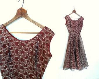 1950s Party Dress / 50s Dress / Whiskey & Soda / Chiffon Dress / 1950s Dress / XXS XS
