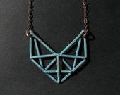 Copper Geometric Necklace - Art Deco Revival Necklace - Crossbeam Truss Design - handmade copper jewelry- handmade in Austin, Tx