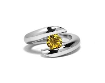 Unique Yellow Topaz Tension Ring in Stainless Steel