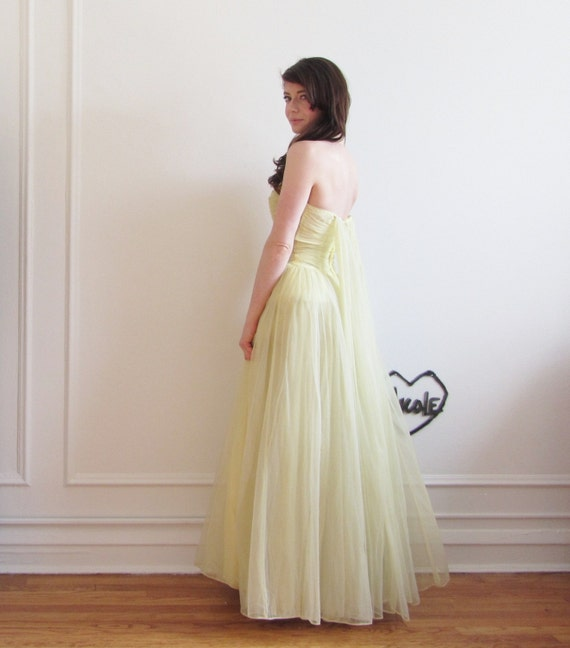 1950 chiffon ball gown with lemon meringue watteau train .extra small.small.xs .sale