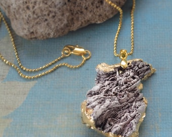 Ceramic texture necklace, woodland Agate Geode Gold Nugget Natural History Handmade boho Pendant Chain gift