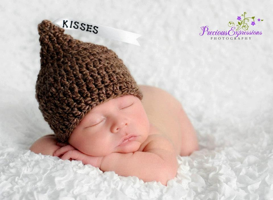 Crochet Baby Hershey Kiss Hat Pattern : Crochet Baby Hershey Kiss Hat Custom Made to by ...