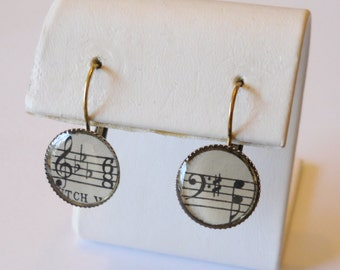 Sheet Music Earrings: Treble & Bass Clefs, Musician Teacher Gift, Musical Notes, Music Jewelry, Real Vintage, OOAK, Upcycled Sheet Music