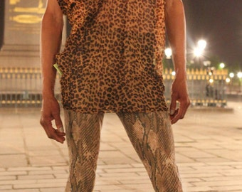 Sheer Mesh Textile Tunics in Cheetah Print