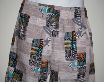 Deadstock Vintage 1980's Made in Hawaii Tiki Surf Board Shorts YNOT Swim Trunks NOS size Medium