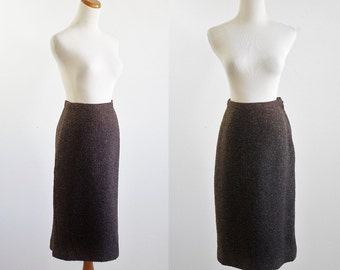 Vintage 50s Skirt -- 1950s Pencil Skirt -- Small