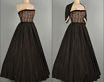 Vintage 1950s Prom Dress...JUNIOR COUTURE Black Taffeta Evening Gown  Small X-Small