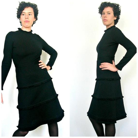 Mod 60s Dress - 1960s dress - wiggle dress - little black dress - Jonathan Logan - wool - xs small