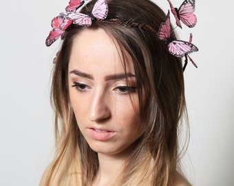 Pastel Pink Butterfly Crown - wedding, bride, fantasy, woodland, fairy tale