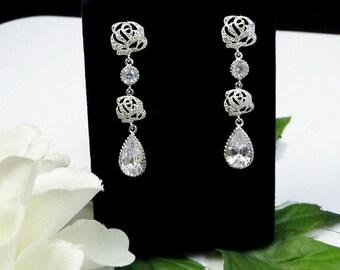 Cubic Zirconia Long Wedding Earrings, Bridal Earrings, Long Drop Earrings, Crystal Earrings, Rhinestone Earrings, Dangle Earrings, Bride