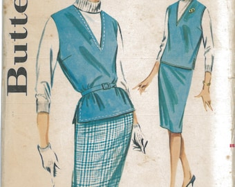 9873 1960's Women's Blouse and Skirt Vintage Sewing Pattern Butterick 9873 Bust 34
