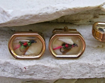 ON SALE  Vintage 50s Swank Fly Fishing Hooks Encased Goldtone Cuff Links and Tie Clip Set