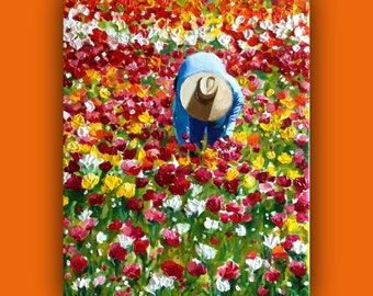 """Oil Painting, """"FIELD of COLOR"""" - Original Oil Painting#EtsyGifts, Bright, (flowers, hat, field, harvest, color) Signed by the artist"""