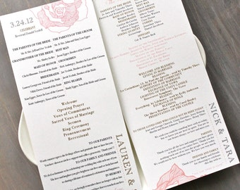 Pink and Gray Blush Peach Lace Wedding Ceremony Programs