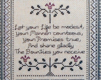 Betty Spencer   AMISH SAYING Sampler   Counted Cross Stitch Pattern   Chart - fam