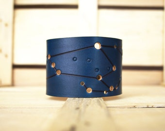 Blue Orion Leather constellation Cuff