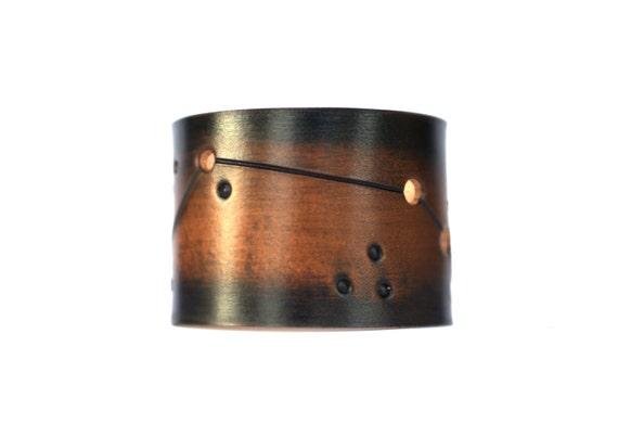 Leather cuff Mens Ladies Aries constellation jewelry bracelet birthday gift