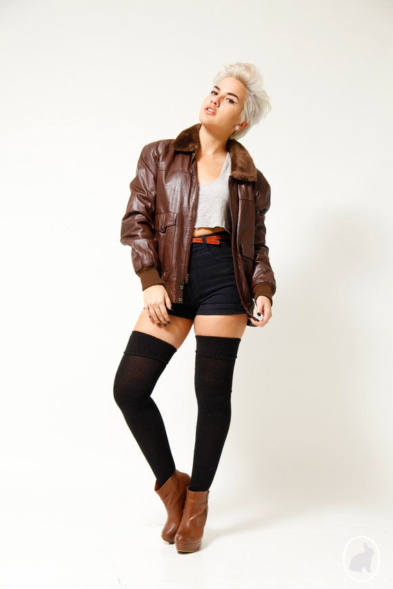 Vintage 80s Whiskey Brown Leather Bomber Jacket by SHOPAT851