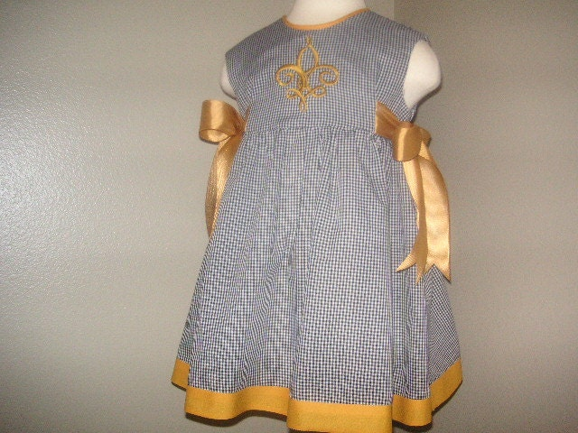 New Orleans Saints Baby Girl Clothing Wrap Dress of Black
