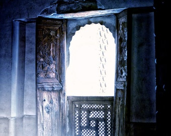 Door Photo, Blue Light, Travel Photography, Mysterious Room, Marrakech, Magical, Enchanted, Rays, Fine Art Photography - Perception of Light