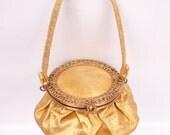 RESERVED FOR NINA Vintage Gold Purse Round Wristlet Handbag Ornate Filigree Lid Metallic Gold Tone Frame Elegant Pouch Pink Satin Lining