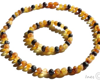 Raw Unpolished Multicolor Baltic Amber Necklace and Matching Bracelet. For Adults