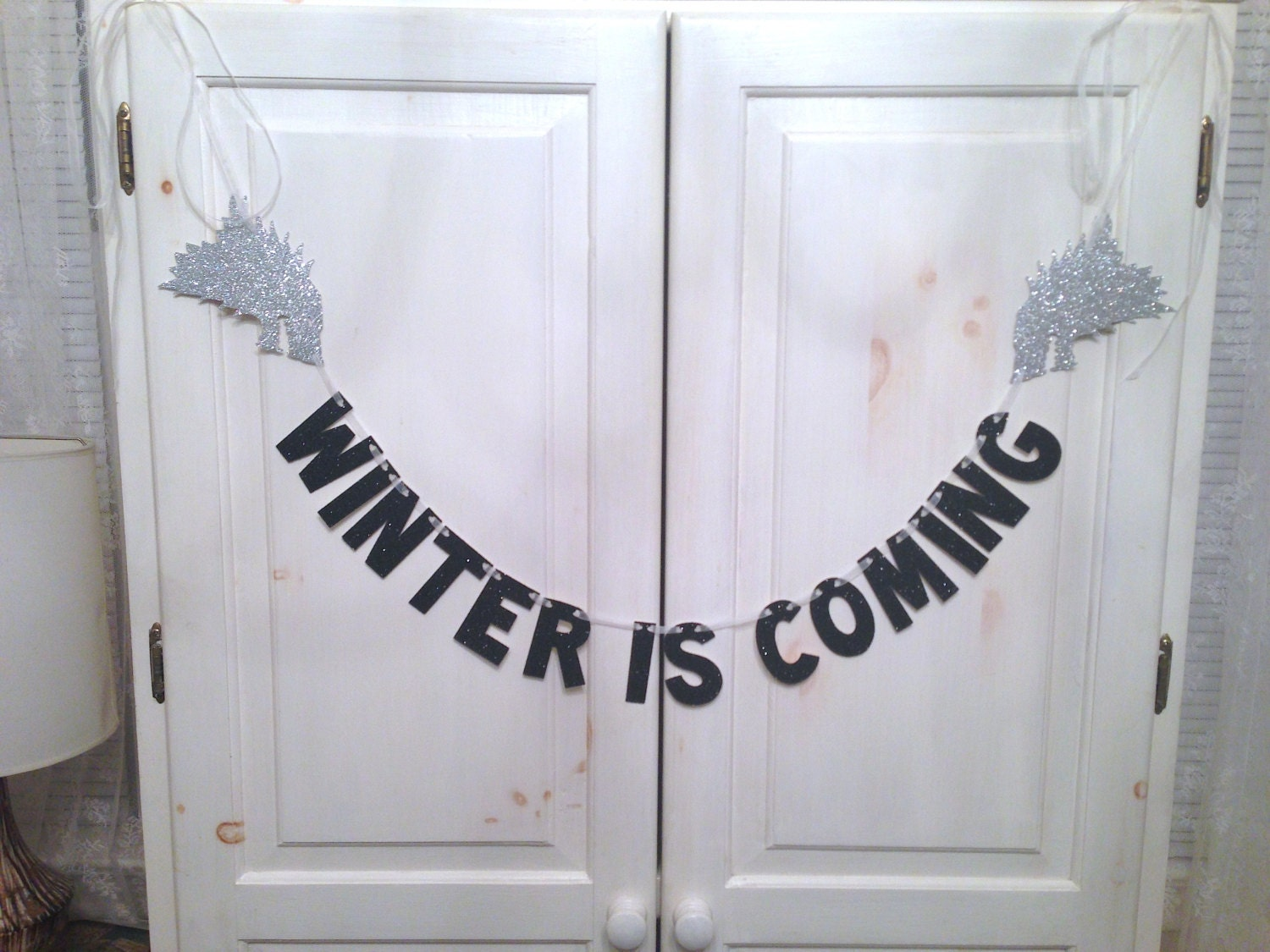 winter is coming banner game of thrones glitter banner. Black Bedroom Furniture Sets. Home Design Ideas