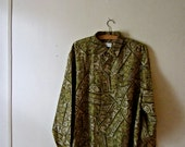 60s Mens // Psychedelic Print // Silk Paisley // XL