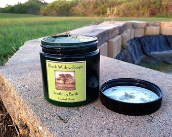 Soothing Earth Herbal Clay Facial Mask, Lemongrass, Eucalyptus, & Sage, 4 ounces, Natural, Herbal Mask, Pore Cleaning Mask, Aromatherapy