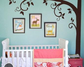 "Tree Wall Decal -  Nursery Wall Decoration - Tree Wall Sticker - Corner Tree decal - Large: approx 95"" x 95"" - KC024"