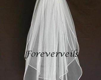 Fingertip Wedding Veil Fingertip 2 Tier bridal veil - 40 inch custom made white, ivory, diamond white, champagne