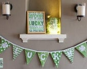 "St Patricks Day ""LUCKY"" Shamrock Fabric Bunting Banner with chevron and polka dots"
