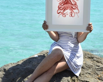 Red  octopus no.10 - Vintage style A3 plus sized Poster Wall Art - sea life print SPP034