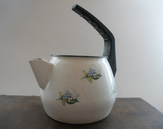 Soviet Vintage enamel tea kettle White Blue floral tea kettle USSR era enamelware Farmhouse decor