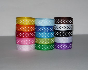 """3/8"""" (10mm) Polka Dot Grosgrain Ribbon Lot:  Choose 1 or 2 Yards EACH of 15 Different Colors"""