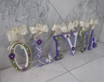 CUSTOM Hanging Wooden Wall Letters - Theme: Purple and Green Letters - Designed For Your Nursery or Child's Room