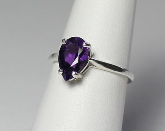 Purple African Amethyst Ring Sterling Silver / Amethyst Ring Silver