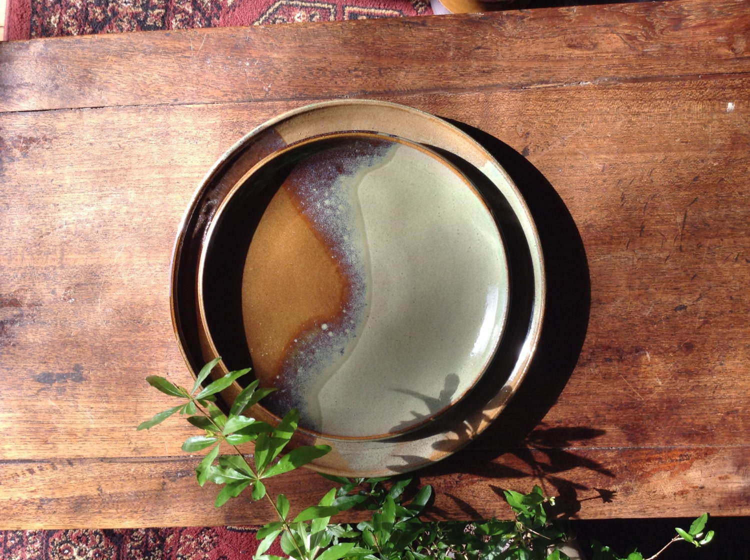 Sage green dinner plate with organically shaped brown accent - Sage green color wheel ...