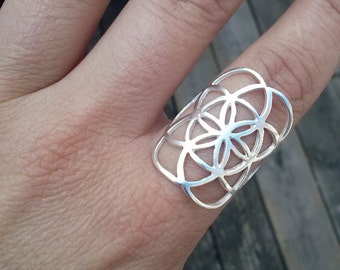 Seed of life ring in solid sterling silver - sacred geometry - flower of life - silver ring - high quality - mother's day gift