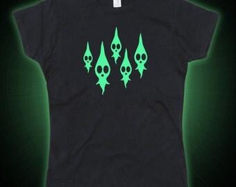 Ladies Dead Pikmin Inspired Ghosts Glow in the Dark Tshirt