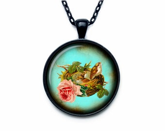 Bird nest pendant Bird nest necklace Bird nest jewelry nature necklace (PBN00001)