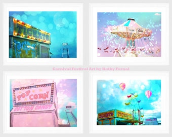 Carnival Prints, Baby Girl Nursery Room Decor, Carnival Photos, Kid's Room Decor, Pink Aqua Balloons Ferris Wheel Cotton Candy Ticket Booth